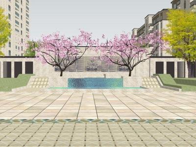 新古典小区中轴线景观SU模型SU模型下载【ID:532278458】
