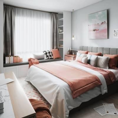 北欧卧室双人床床头柜摆件组合3D模型