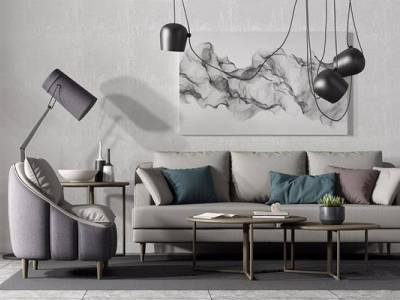 现代北欧沙发组合3D模型【ID:15431706】