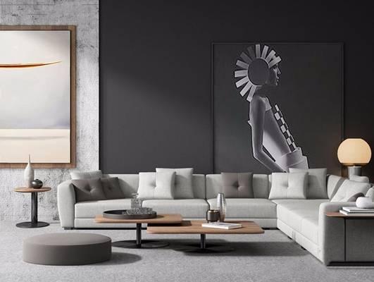 现代沙发组合 现代组合沙发 多人沙发 茶几 边几 台灯 挂画 转角沙发 L型沙发 布艺沙发