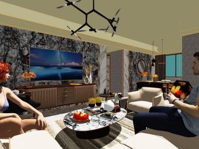 现代简约三房两厅室内设计SU模型
