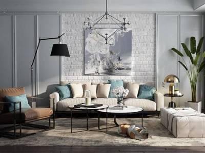 现代布艺沙发茶几吊灯盆栽组合3D模型
