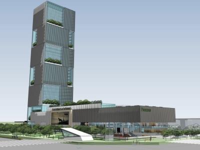 现代高层办公楼景观SU模型SU模型下载【ID:528756650】
