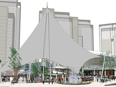 现代下沉商业广场sketchup模型SU模型下载【ID:332490910】
