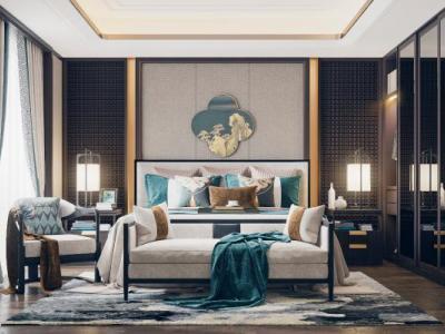 新中式卧室3D模型【ID:431512329】