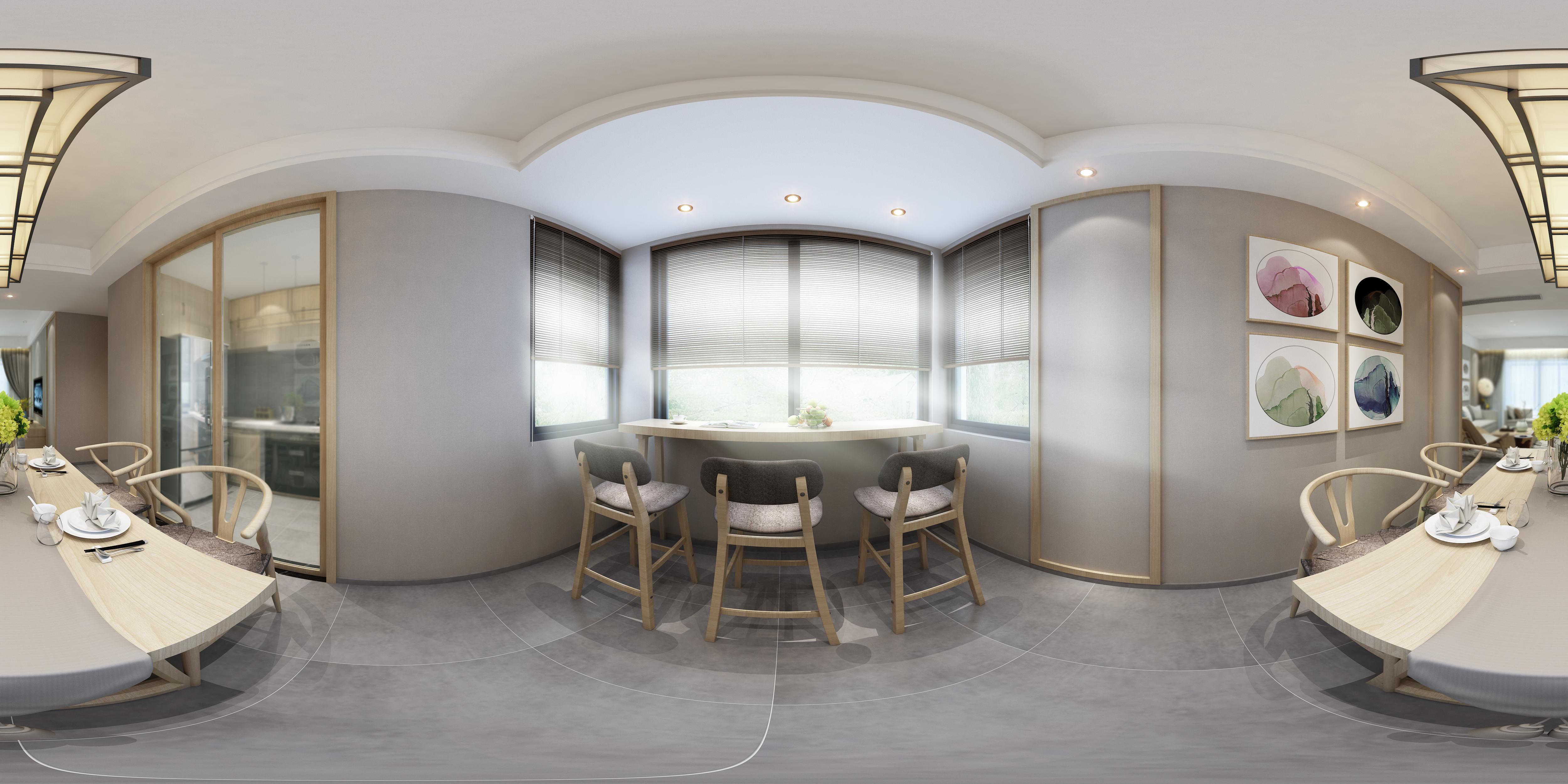 新中式家居餐厅 餐桌椅 装饰墙 吊灯