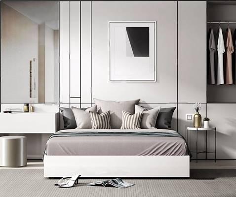 现代港式床具组合 现代双人床 边几 凳子 挂画 床品 衣服 地毯 港式床具组合