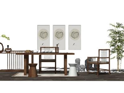 中式茶桌SU模型