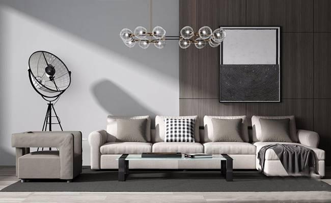 现代沙发组合 现代组合沙发 多人沙发 茶几 休闲椅 落地灯 吊灯 挂画 布艺沙发 转角沙发 摆件
