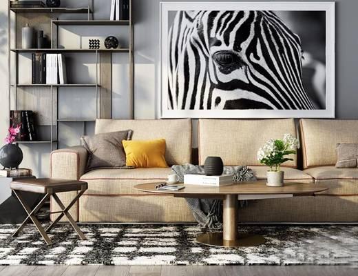 现代沙发 现代多人沙发 休闲椅 茶几 装饰架 装饰画 摆件 地毯