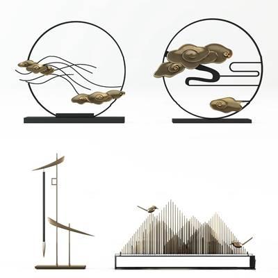 中式金属祥云笔架摆件组合3D模型