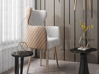 现代轻奢单椅边几组合3D模型【ID:333126080】