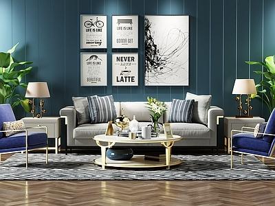 现代沙发茶几组合3d模型下载【ID:125672021】