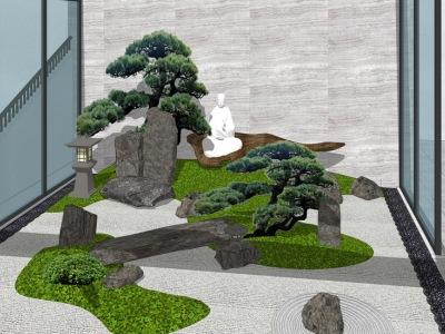 日式中庭院落景观SU模型