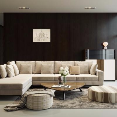 (悬赏模型)意大利FORTOLI品牌现代转角沙发茶几组合3D模型