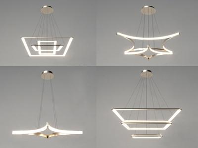 现代金属吊灯组合3D模型【ID:534893820】
