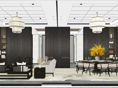 新中式别墅一层客厅餐厅书房厨房室内设计SU模型SU模型下载【ID:928760850】