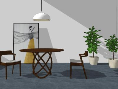 艾千现代风格餐桌组合餐桌SU模型下载【ID:726210777】