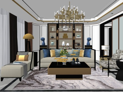 新中式客厅室内设计SU模型SU模型下载【ID:930333869】