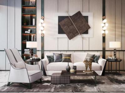 现代沙发茶几组合3d模型下载【ID:133374060】