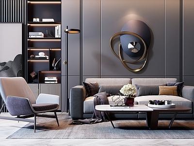 现代沙发茶几组合3d模型下载【ID:934536746】