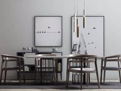 新中式桌椅柜子组合 新中式餐桌椅 长桌子 椅子 装饰柜 吊灯 装饰画 装饰品