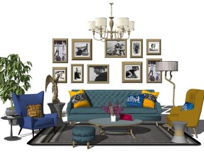 欧式客厅沙发茶几吊灯装饰画组合SU模型SU模型下载【ID:730334620】