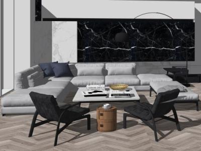 现代简约客厅SU模型沙发 户外 家具 庭院 书桌