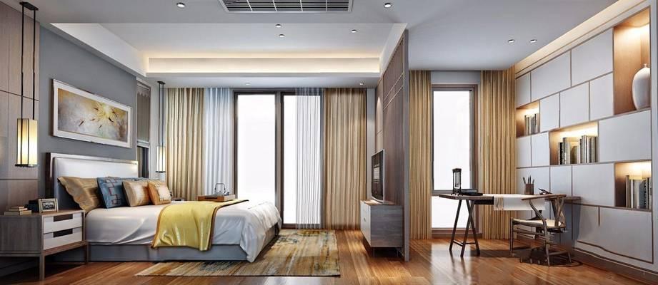 新中式卧室3d模型下载【ID:46267336】