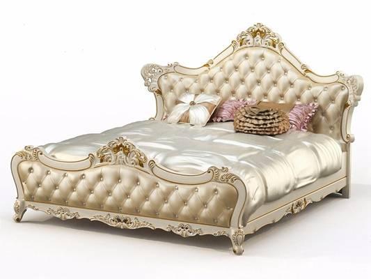欧式双人床床头柜L3d模型下载【ID:76363103】