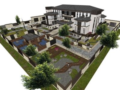 精品免费新中式别墅庭院景观SU模型
