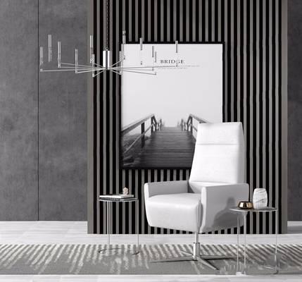 现代沙发椅角几组合 现代沙发 沙发椅 角几 边几 吊灯 挂画 摆件 背景墙