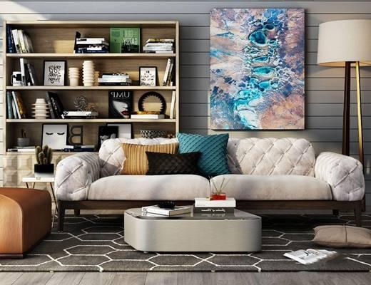 现代多人沙发茶几落地灯组合 现代多人沙发 茶几 坐垫 落地灯 书架 挂画 摆件 布艺沙发 地毯