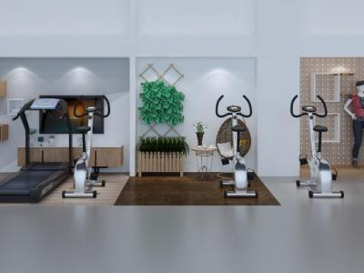 现代健身房展厅健身器材墙饰窗帘模特