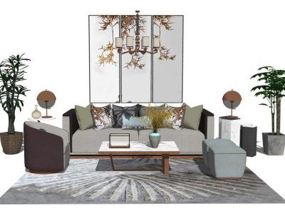 新中式客厅沙发茶几盆栽组合SU模型SU模型下载【ID:732280609】