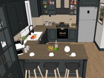 精品美式开放式厨房SU模型