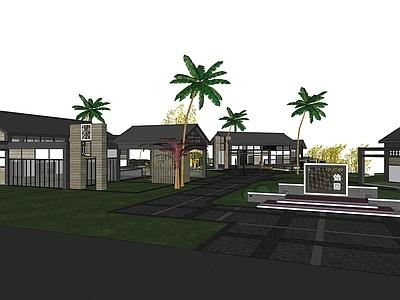 精致小商业建筑群景观模型