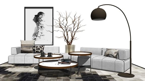 精品免费现代风格别墅客厅沙发茶几落地灯组合SU模型SU模型下载【ID:46702719】