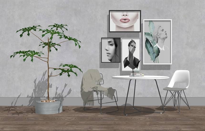 现代休闲桌椅组合SU模型SU模型下载【ID:620075650】