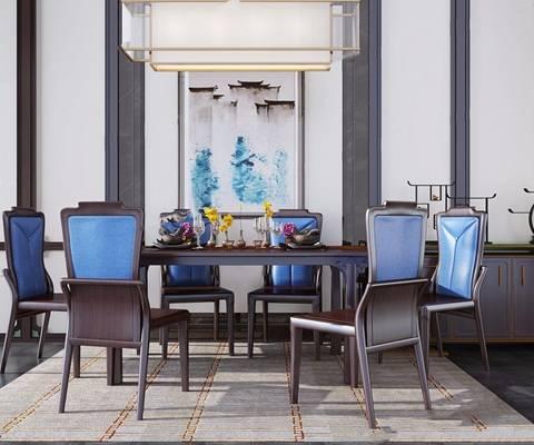 新中式餐桌椅组合 新中式桌椅组合 餐桌椅 餐边柜 吊灯 椅子 长餐桌 地毯 摆件 餐具