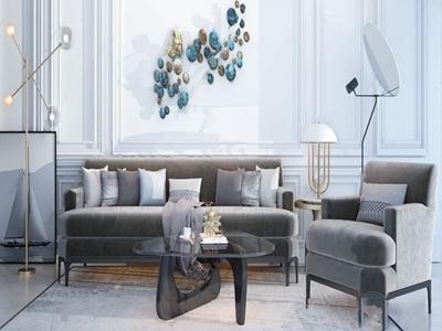 现代沙发茶几组合3D模型【ID:333127319】