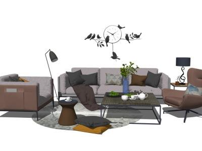 现代客厅沙发茶几组合SU模型SU模型下载【ID:730332682】