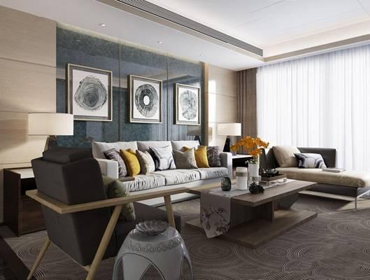 矩阵纵横深圳现代客厅 现代客厅 多人沙发 休闲椅 茶几 窗帘 台灯 装饰画 现代摆件