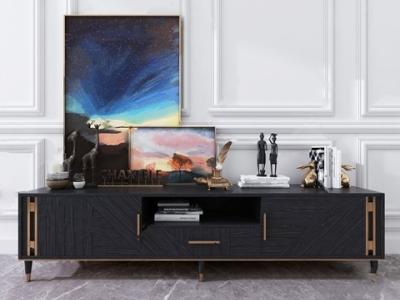 现代电视柜 现代电视柜 金属摆件 人物摆件 风景挂画