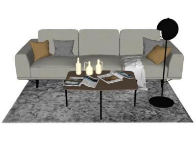 现代双人沙发茶几组合SU模型下载【ID:326501891】