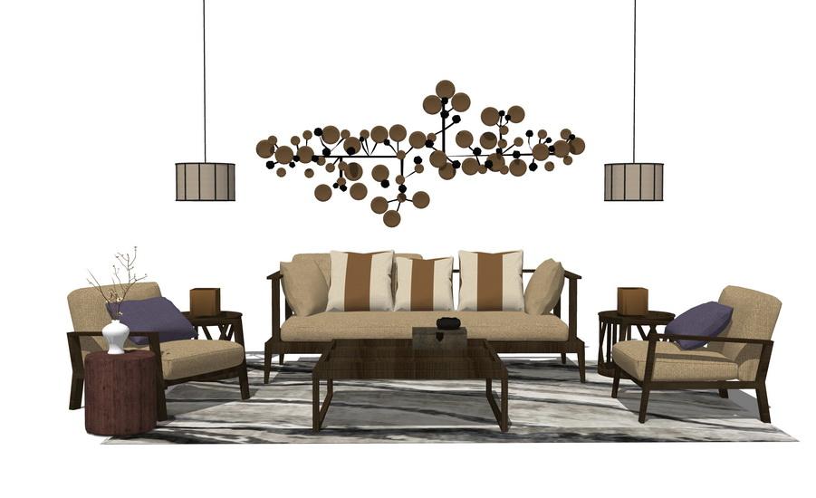 新中式客厅沙发茶几吊灯组合SU模型SU模型下载【ID:723154624】