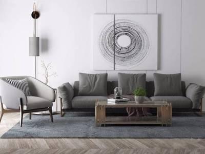 后现代沙发组合3D模型【ID:15432705】