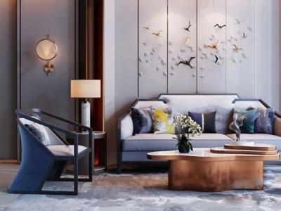 新中式奢华沙发单椅茶几组合 新中式双人沙发 单人沙发 茶几 角几 台灯 壁灯 墙饰