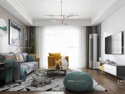 北欧客厅 多人沙发 茶几  单人沙发 吊灯  挂画  沙发凳 盆栽  空调 电视柜 烛台 地毯 宠物猫 书籍