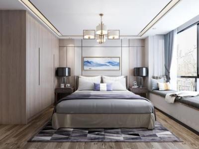 新中式现代中式卧室床品组合 吊灯 挂画